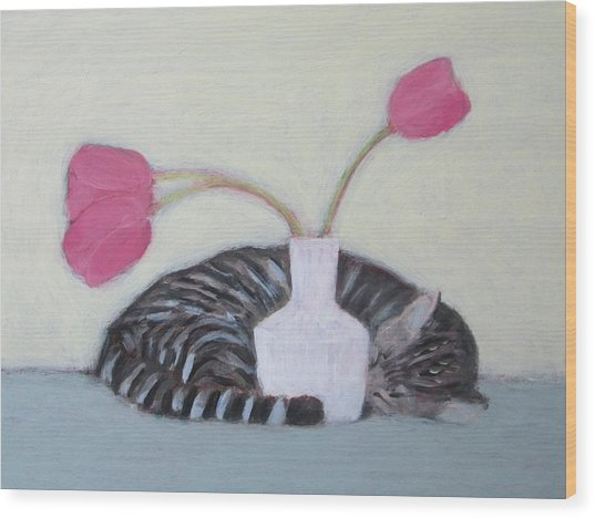 Cat And Tulips Wood Print