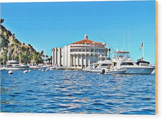 Catalina Casino View From A Boat Wood Print by Lauren Serene