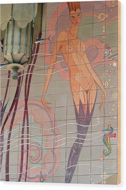 Catalina Tile Mermaid And Lamp Wood Print