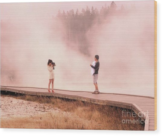 Catching The Steam In Yellowstone Wood Print