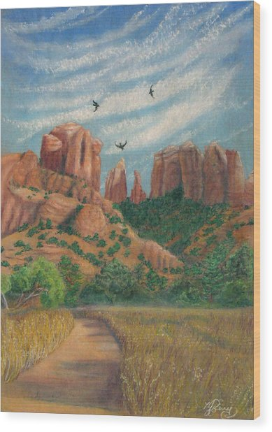 Cathedral Rock In Sedona Wood Print by Marcia  Perry