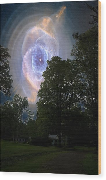 Cat's Eye Nebula From Earth Wood Print