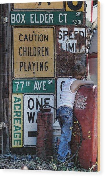 Caution Wood Print by Nichon Thorstrom