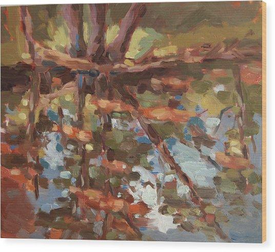 Cedar Creek Reflection Wood Print by Jenny Anderson