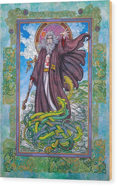 Celtic Irish Christian Art - St. Patrick Wood Print by Jim FitzPatrick