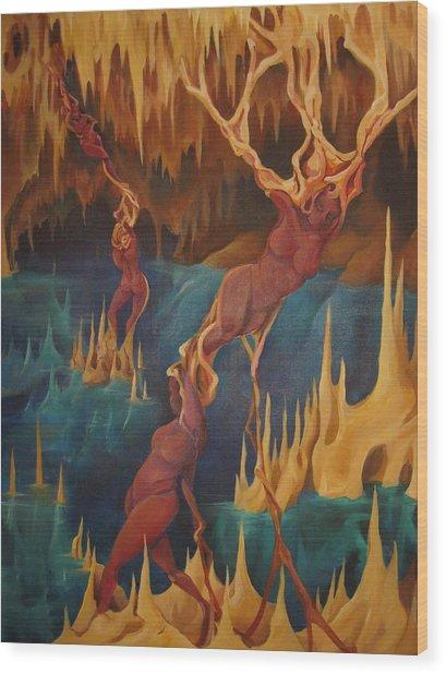 Cenote Wood Print by Allison Kohn