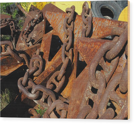 Chains And Anchors Wood Print