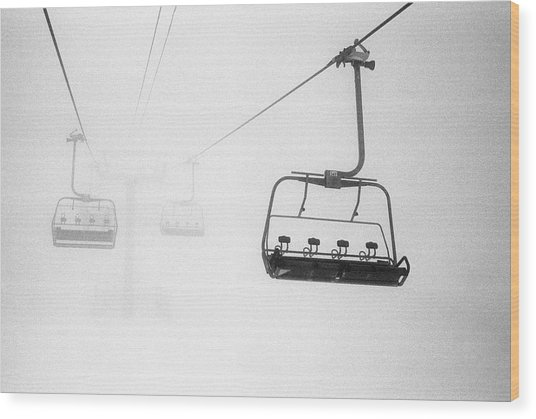 Chairlift In The Fog Wood Print
