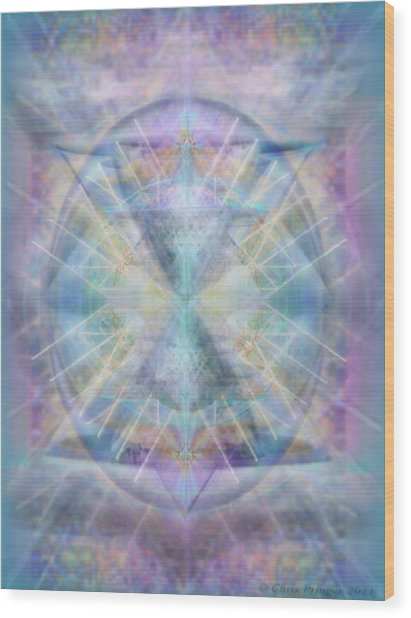 Chalice Of Vorticspheres Of Color Shining Forth Over Tapestry Wood Print