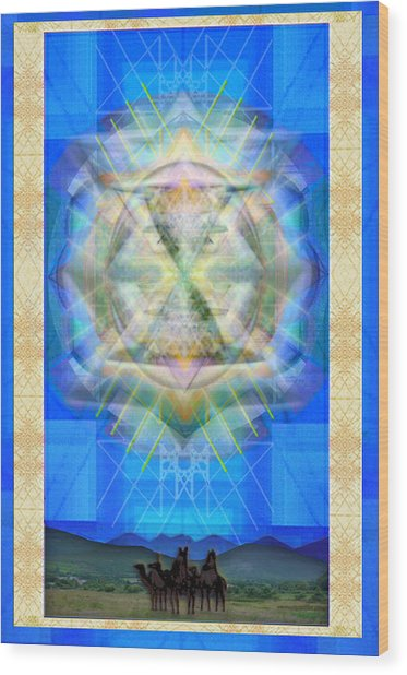 Chalice Star Over Three Kings Holiday Card Ix Wood Print by Christopher Pringer