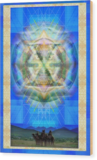 Chalice Star Over Three Kings Holiday Card Xabrti Wood Print by Christopher Pringer