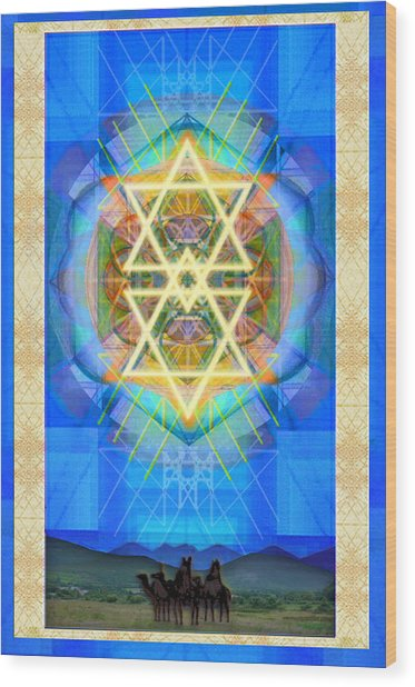 Chalice Synthesis Star Over Three Kings Holiday Card  Vi Lt Wood Print