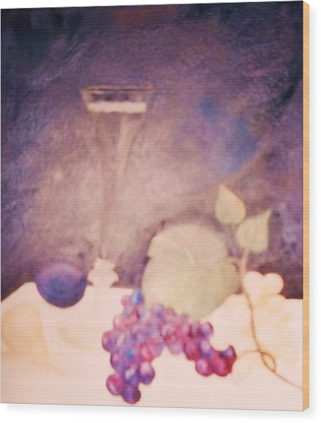 Champagne And Fruit Wood Print by Alanna Hug-McAnnally
