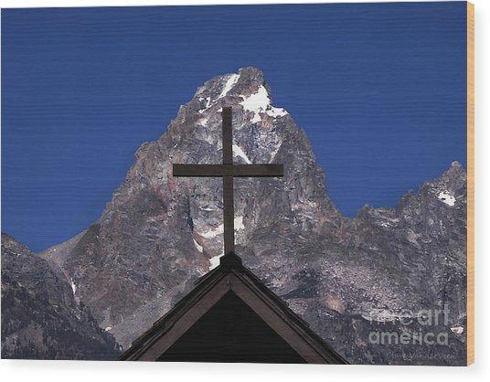 Chapel Cross Wood Print by Clare VanderVeen