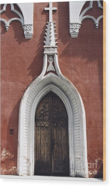 Chapel Entrance In White And Brick Red Wood Print