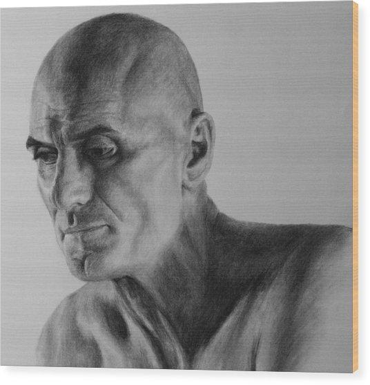Charcoal Portrait Wood Print