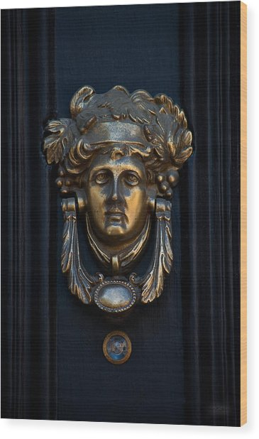 Charleston Brass Door Knocker Wood Print by Melissa Wyatt