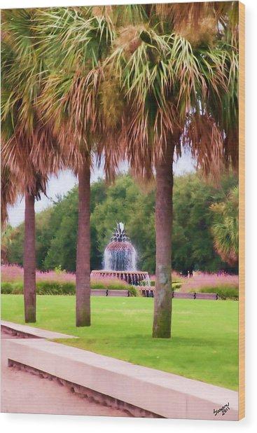 Charleston Pineapple Fountain Wood Print