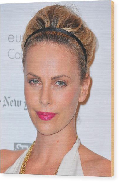 Charlize Theron Wearing A Jennifer Behr Wood Print by Everett