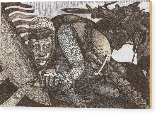 Chased By Brigands Wood Print