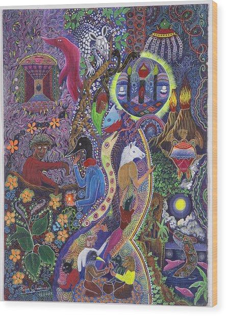 Wood Print featuring the painting Chasnamancho Umanki by Pablo Amaringo