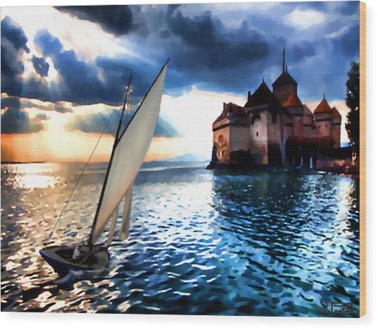 Chateau De Chillon On Lake Geneva Wood Print