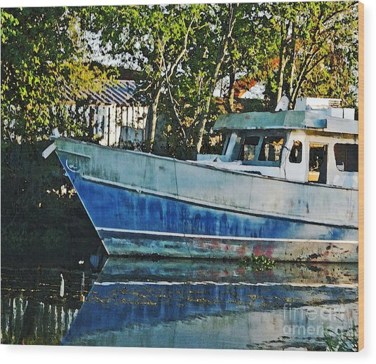 Chauvin La Blue Bayou Boat Wood Print