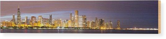Chciago Skyline In The Evening Wood Print