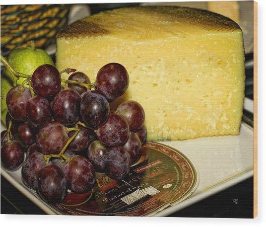 Cheese And Grapes Wood Print