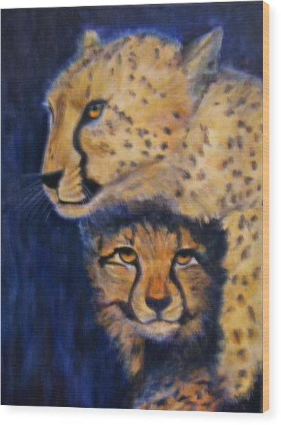 Cheetah Mother And Child Wood Print
