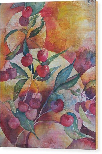 Cherries In The Sun Wood Print