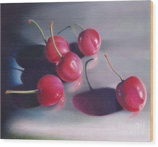 Cherry Talk Wood Print by Elizabeth Dobbs