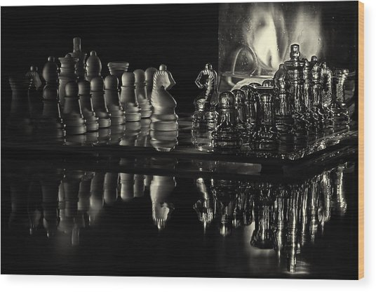 Chess By Candlelight Wood Print