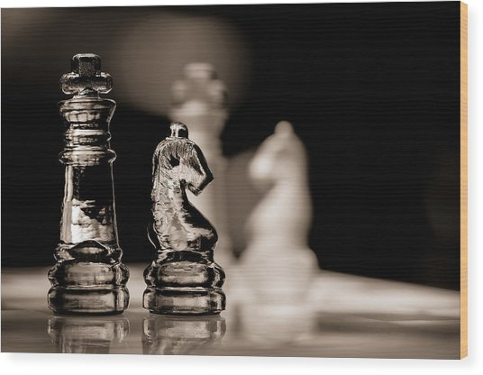 Chess King And Knight Wood Print