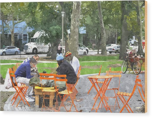 Chess Players In Clark Park Wood Print