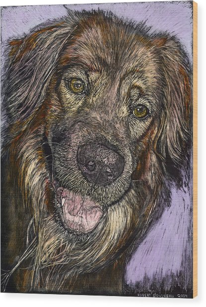 Chester The Dog Wood Print by Robert Goudreau