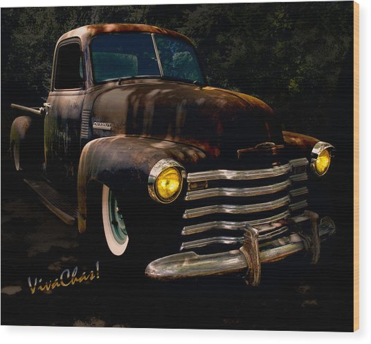 Chevy Hot Rat Rod Pickup Cowgirl's Last Stand Wood Print