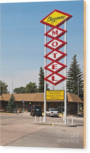 Cheyenne Motel Wood Print