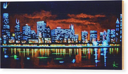 Chicago By Black Light Wood Print
