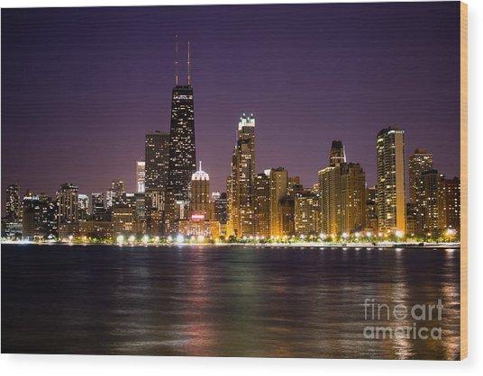 Chicago City At Night Photo Wood Print