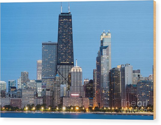 Chicago Downtown At Night With John Hancock Building Wood Print