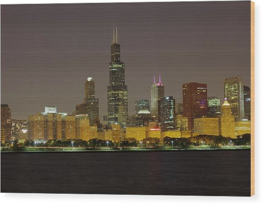Chicago Night Skyline Wood Print