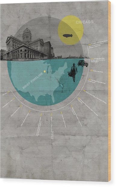 Chicago Poster Wood Print