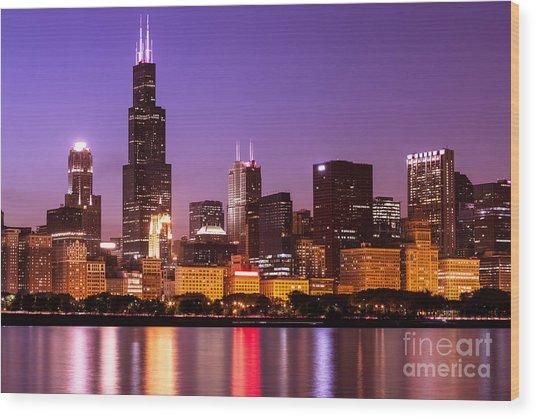 Chicago Skyline At Night High Resolution Image Wood Print