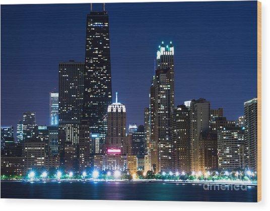 Chicago Skyline At Night With John Hancock Building Wood Print