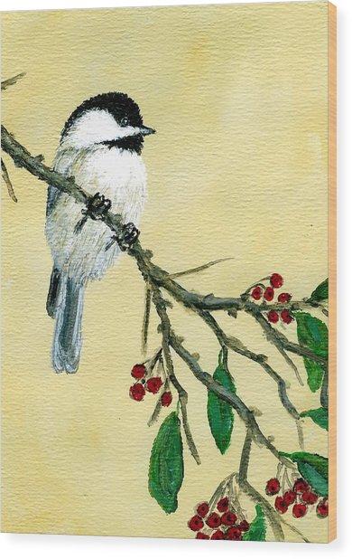 Chickadee Set 4 - Bird 1 - Red Berries Wood Print