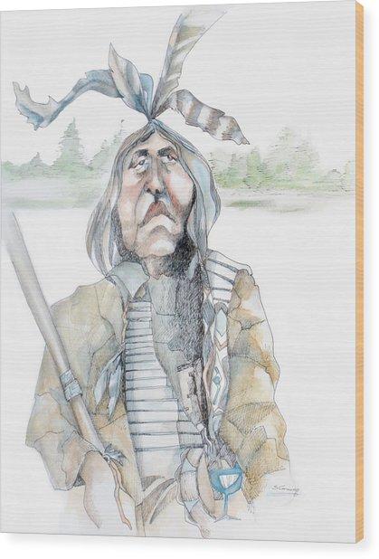Chief And Blue Bird Wood Print by Shane Guinn