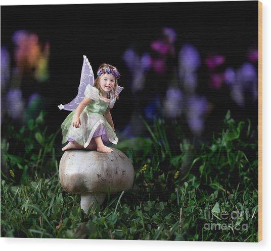 Child Fairy On Mushroom Wood Print