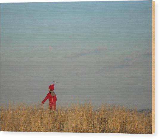 Child On The Dunes Wood Print by Joe  Burns