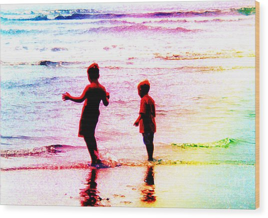 Childhood At The Beach Wood Print